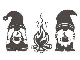 gnomi da campeggio vettoriali simpatici gnomi scandinavi con campeggio in stile cartone animato
