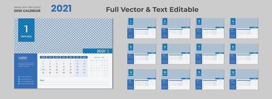 Calendario da tavolo 2022 con layout blu Calendario da tavolo blu Nuovo modello di calendario da tavolo 2022 2021 12 mesi inclusi vettore
