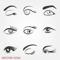 set di icone di bellissimi occhi vettore