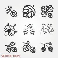 set di icone di luppolo vettore