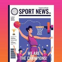 illustrazione di vettore di copertina di una rivista di notizie sportive