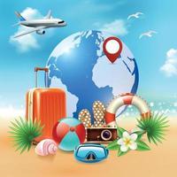 illustrazione realistica di vettore della composizione di vacanze estive colorate