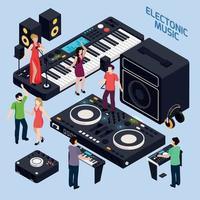 illustrazione vettoriale di composizione di musica dance elettronica