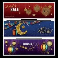 Ramadan Kareem banner realistico illustrazione vettoriale