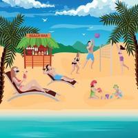 illustrazione vettoriale di composizione vacanza bar sulla spiaggia