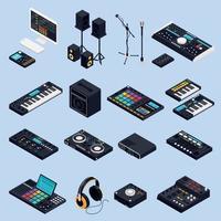 illustrazione di vettore delle icone dell'attrezzo audio pro