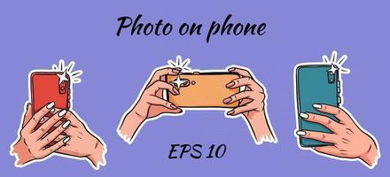 foto sul telefono selfie telefono in stile cartone animato mano vettore