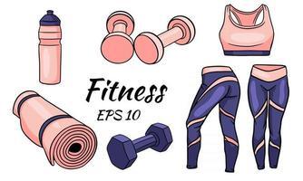 set fitness vestiti manubri e un tappetino per lo sport e lo yoga vettore