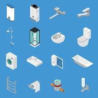 illustrazione di vettore delle icone isometriche di ingegneria sanitaria