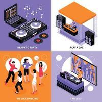 illustrazione di vettore di concetto isometrico di musica dj