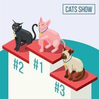 i gatti mostrano l'illustrazione isometrica di vettore della composizione