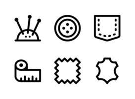 semplice set di icone di linea del vettore relative al cucito