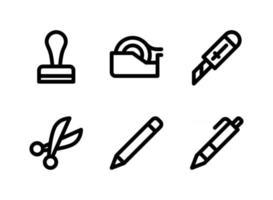 semplice set di icone di linea del vettore relative alla cancelleria