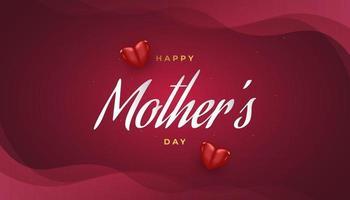 biglietto di auguri festa della mamma con cuori isolati su sfondo rosso vettore