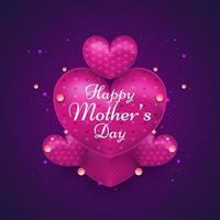 biglietto di auguri festa della mamma con cuore viola realistico vettore