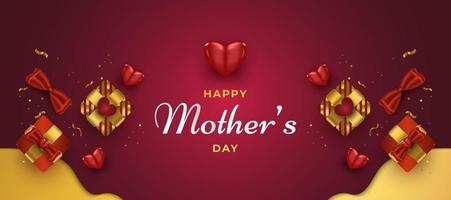 biglietto di auguri festa della mamma o banner con cuori e confezione regalo in rosso e oro vettore