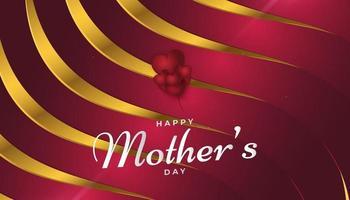 biglietto di auguri festa della mamma in rosso e oro con stile taglio carta vettore