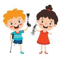personaggi dei cartoni animati divertenti utilizzando protesi vettore