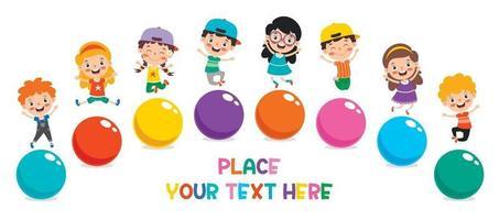 bambino divertente che gioca con palline colorate vettore