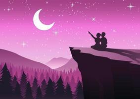 coppia che punta alla luna in una notte con le stelle seduto sulla scogliera e vicino a una pineta vettore