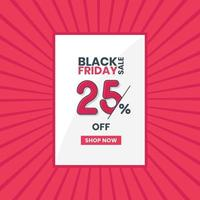 banner di vendita venerdì nero sconto del 25 percento promozione venerdì nero offerta sconto del 25 percento vettore