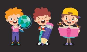 concetto di educazione con bambini in età scolare divertenti vettore
