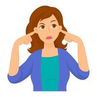 ragazza si copre le orecchie con le dita per non ascoltare vettore