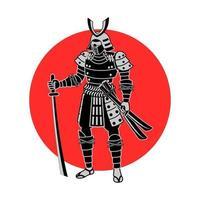samurai che tiene la spada davanti al cerchio rosso vettore