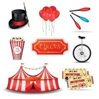 elementi di circo itinerante impostare illustrazione vettoriale