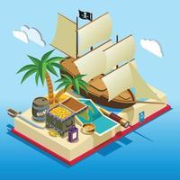 pirata elementi isometrica composizione gioco illustrazione vettoriale
