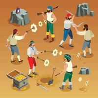 illustrazione di vettore della composizione isometrica del gioco dei pirati