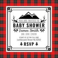 Vettore di stile del plaid della Buffalo dell'invito della doccia di bambino