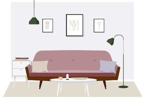 Stanza di vettore e illustrazione della mobilia