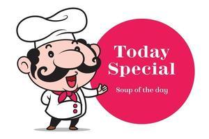 cartone animato sorridente carino chef con grandi baffi introduce un menu speciale con il cartello del cerchio rosso vettore