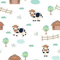 modello senza cuciture degli animali del fumetto di scarabocchio della fattoria della mucca sveglia su fondo bianco vettore