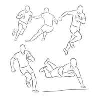 in esecuzione giocatore di rugby astratto sagoma nera vettoriale giocatore di rugby disegno vettoriale illustrazione