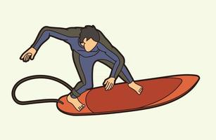 giocatore di surf sport vettore
