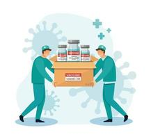 consegna di vaccini covid medicina concetto sanitario illustrazione vettoriale