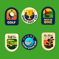 set di concetto di badge da golf vettore