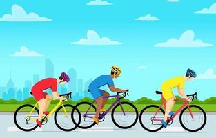 un gruppo di persone in bicicletta nel periodo estivo vettore