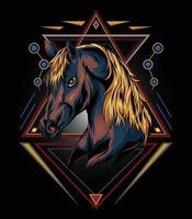 illustrazione della testa di cavallo con sfondo sacro vettore