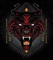 logo design lupo rosso o illustrazione di lupi arrabbiati con stile scuro vettore