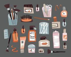 set doodle per la cura del viso accessori di bellezza per la cura quotidiana di cotton fioc, crema per unghie e pettine vettore