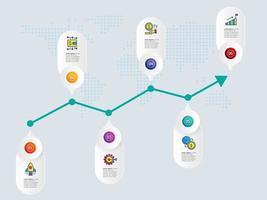 astratto grafico di crescita orizzontale infografica 6 passaggi con modello icona vettore