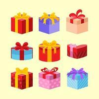 set di icone di scatola regalo vettore