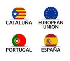 catalogna unione europea portogallo e spagna set di quattro catalogna unione europea adesivi portoghesi e spagnoli icone semplici con bandiere isolate su uno sfondo bianco vettore