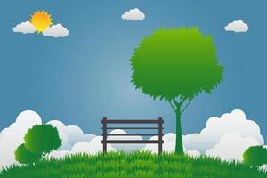 sedia con albero al parco pubblico su un cielo luminoso vettore