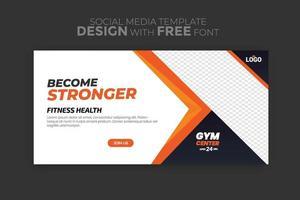 modello di banner web con concetto di sport volantino pubblicitario di social media per palestra fitness e palestra vettore