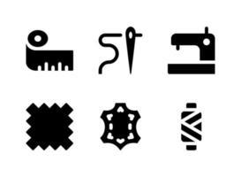 semplice set di icone solide vettoriali relative al cucito
