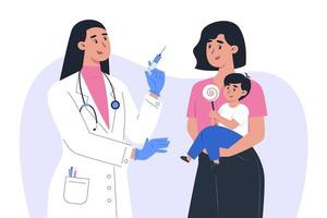 una dottoressa in maschera e guanti fa un vaccino a un paziente bambino vettore